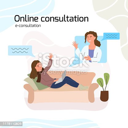 Sick young woman holding laptop, lying on sofa at home and taking online consultation with GP virtual doctor. Video call, Dialog chat box. Online medicine concept