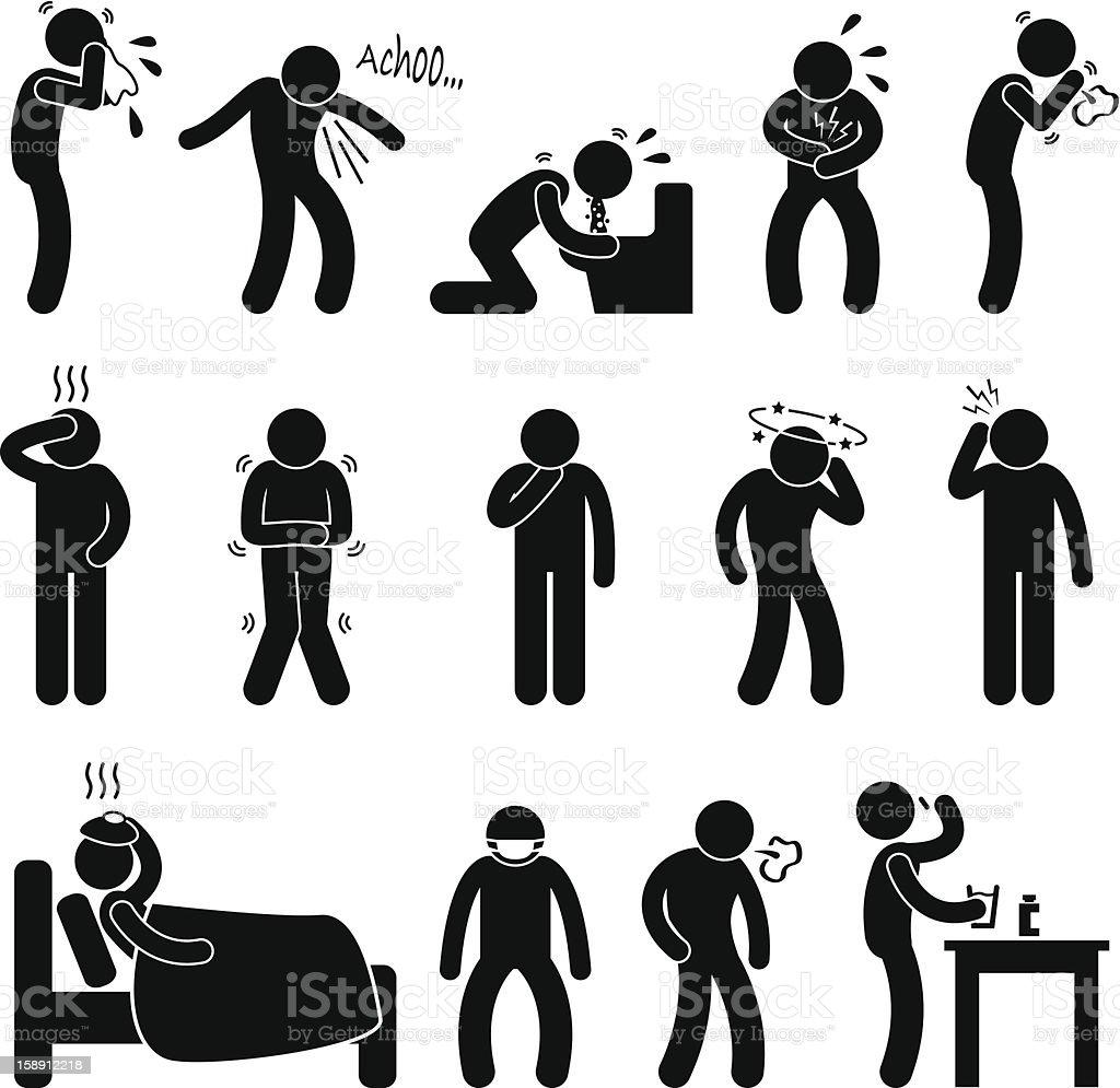 Sickness Illness Disease Symptom Pictogram vector art illustration