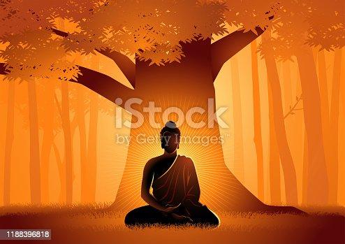 istock Siddhartha Gautama enlightened under Bodhi tree 1188396818