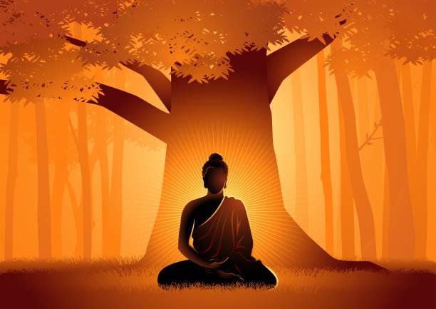 stockillustraties, clipart, cartoons en iconen met siddhartha gautama verlicht onder bodhi tree - buddha