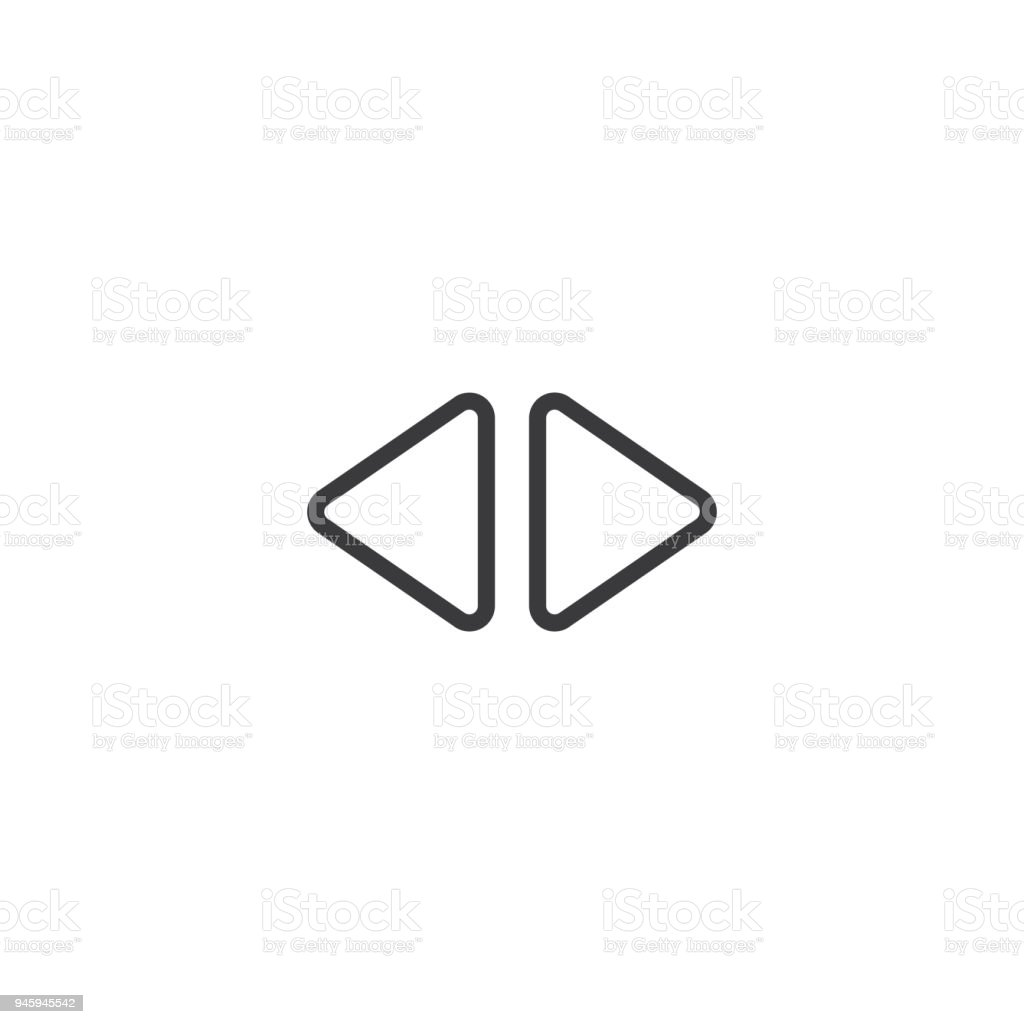 2 Side Arrow Icon Isolated Perfect Pixel With Flat Style In White