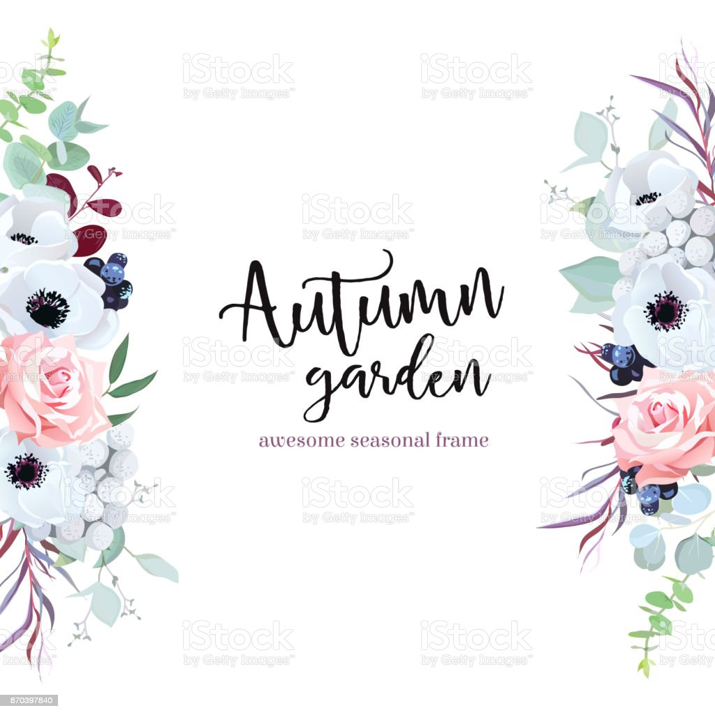 花と葉で側枠 ベクターアートイラスト