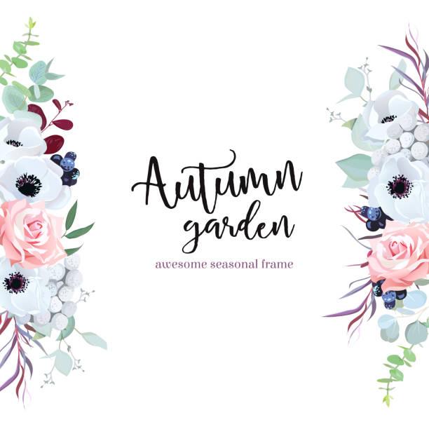 花と葉で側枠 - 秋のファッション点のイラスト素材/クリップアート素材/マンガ素材/アイコン素材