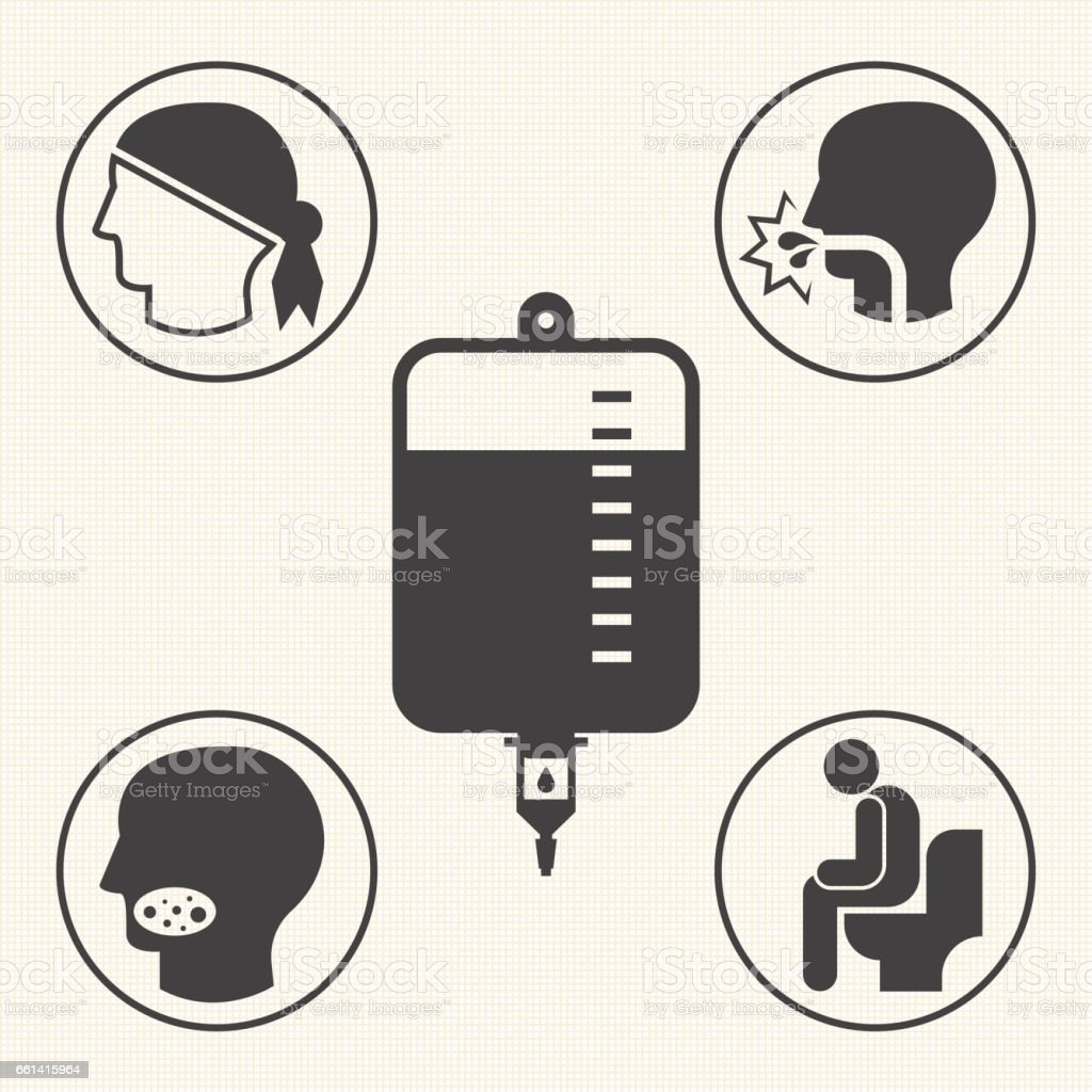 Side effects of chemotherapy.  Vector icons for infographic vector art illustration