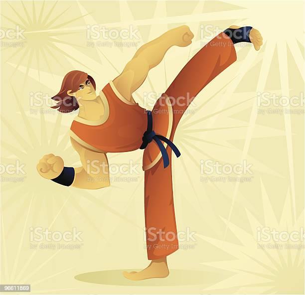 Боковой Удар — стоковая векторная графика и другие изображения на тему Бить ногой