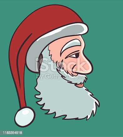 istock A side profile of Santa Clause with beard and Santa hat stock - Illustration 1183354518
