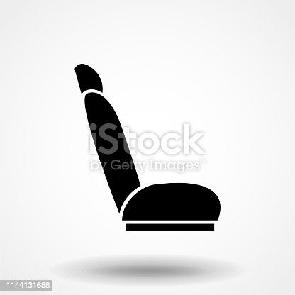 side seat isolated icon on white background, auto service, repair, car detail