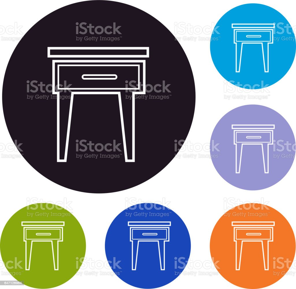 Side table furniture set of icons vector art illustration