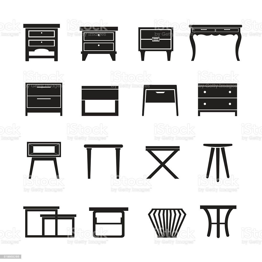 Beistelltisch Vektor, Möbel Symbol Set Lizenzfreies Beistelltisch Vektor  Möbel Symbolset Stock Vektor Art Und