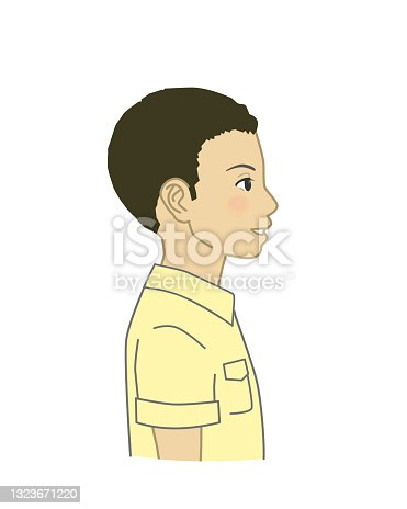 Side view African boy illustration