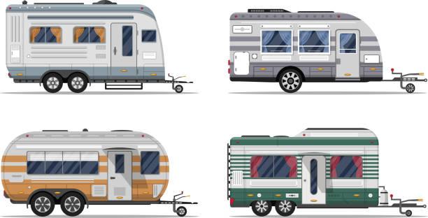 stockillustraties, clipart, cartoons en iconen met kant bekijken camping aanhangwagens geïsoleerd op wit - caravan