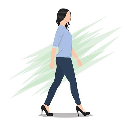 Side View of a Beautiful Woman Walking