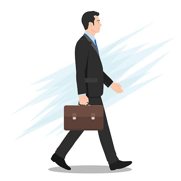 Côté vue d'un Homme d'affaires marchant vers l'avant - Illustration vectorielle