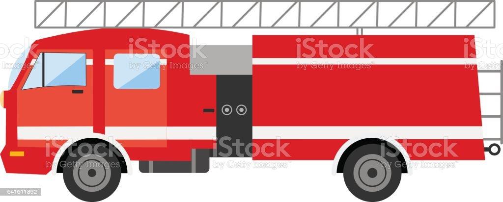 Kırmızı Itfaiye Kamyonu Yan Görünüm Vektör çizim Itfaiye Arabası