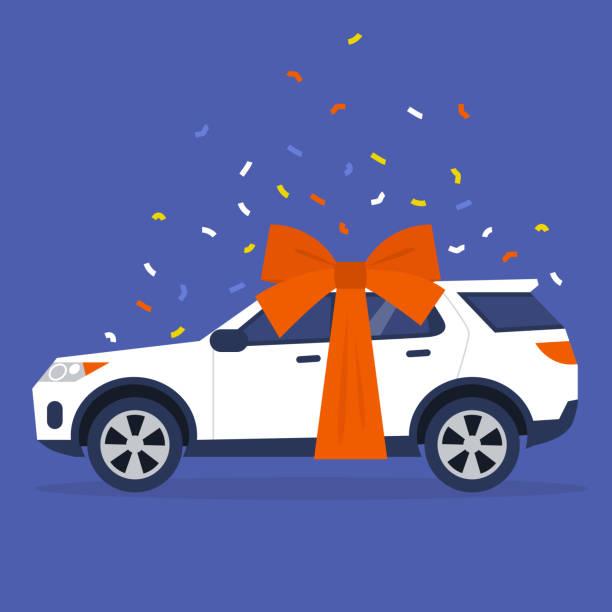 ilustrações de stock, clip art, desenhos animados e ícones de side view of a sport universal car with a big red bow and confetti, a present - new