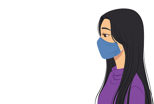 Side view of a woman wearing mask
