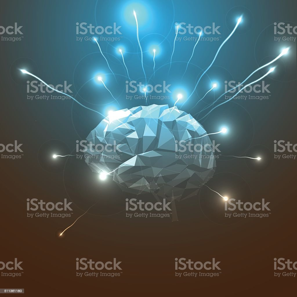 Side View of Abstract Human Head with a Brain. Side View of Abstract Human Brain. Stock Vector Illustration. Abstract Triangle Human Brain. Abstract Concept of Human Brain. Abstract stock vector