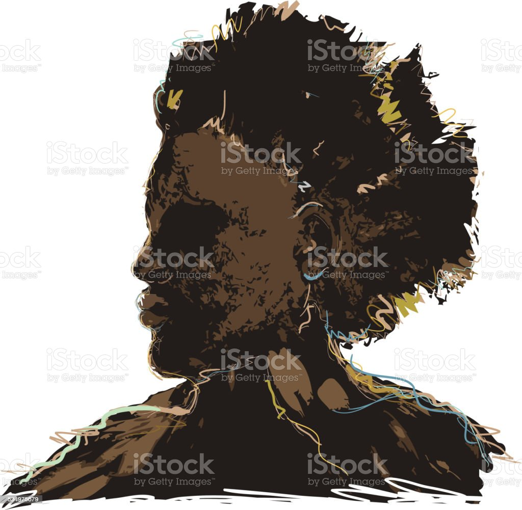 Side view of African american man vector art illustration