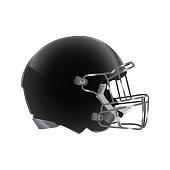 Side view of black football helmet
