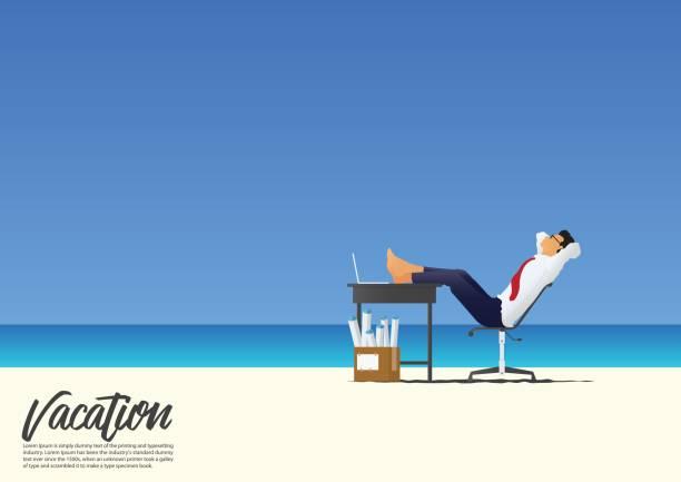 商人放鬆與雙腳擱在辦公桌上白色沙灘度假時他的側面圖。梯度藍天背景與副本空間為您的文本。向量。 - 鬆弛 幅插畫檔、美工圖案、卡通及圖標