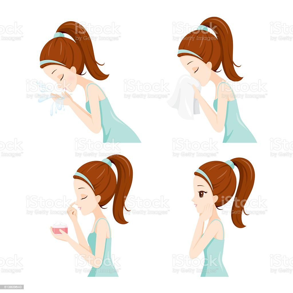 Side view of girl cleaning and care her face set illustration