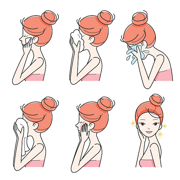 Side View Of Girl Cleaning And Care Her Face Set vector art illustration