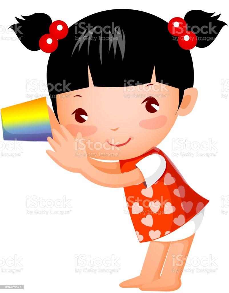 Side view of girl vector art illustration