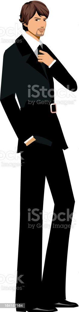 Side view of man standing vector art illustration