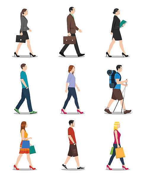 side view of men and women walking - retail worker stock illustrations