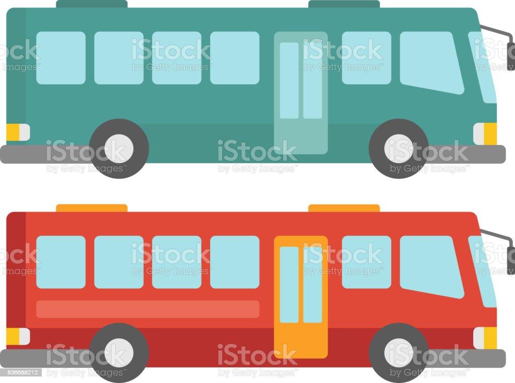 Vista lateral de dois ônibus da cidade - ilustração de arte em vetor