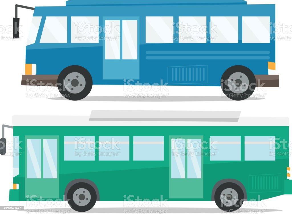 Vista lateral de la ciudad dos autobuses vector ilustración - ilustración de arte vectorial
