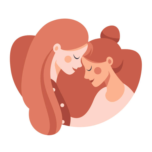 Side view of Two happy sisters hugging each other with love Side view of Two happy sisters hugging each other. Cute young mother embracing her daughter with love. daughter stock illustrations