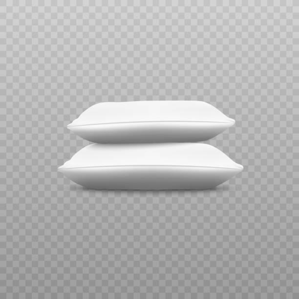 seitenansicht von zwei weißen kissen stapel realistischen stil - stapelbett stock-grafiken, -clipart, -cartoons und -symbole