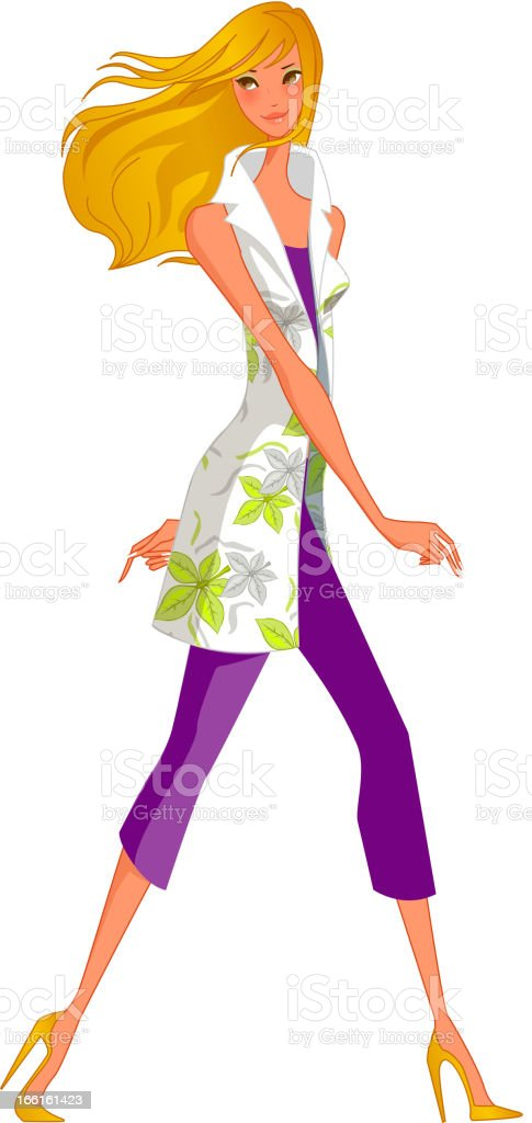 side view of woman vector art illustration