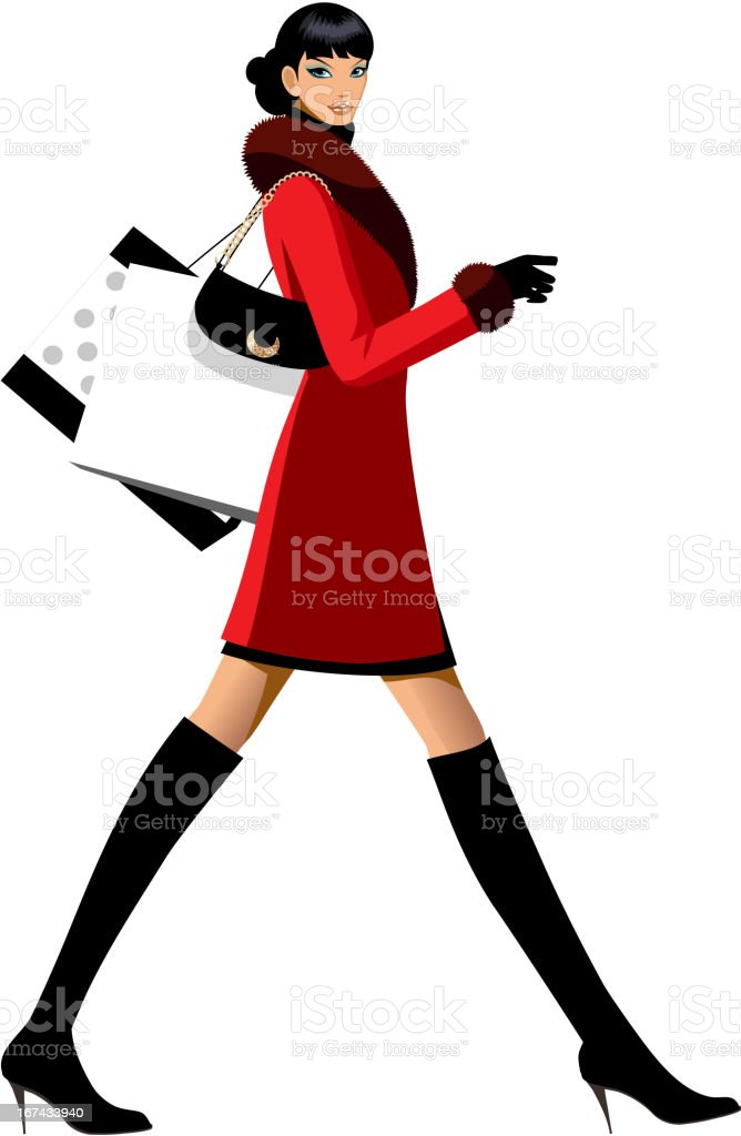 side view of woman walking royalty-free stock vector art