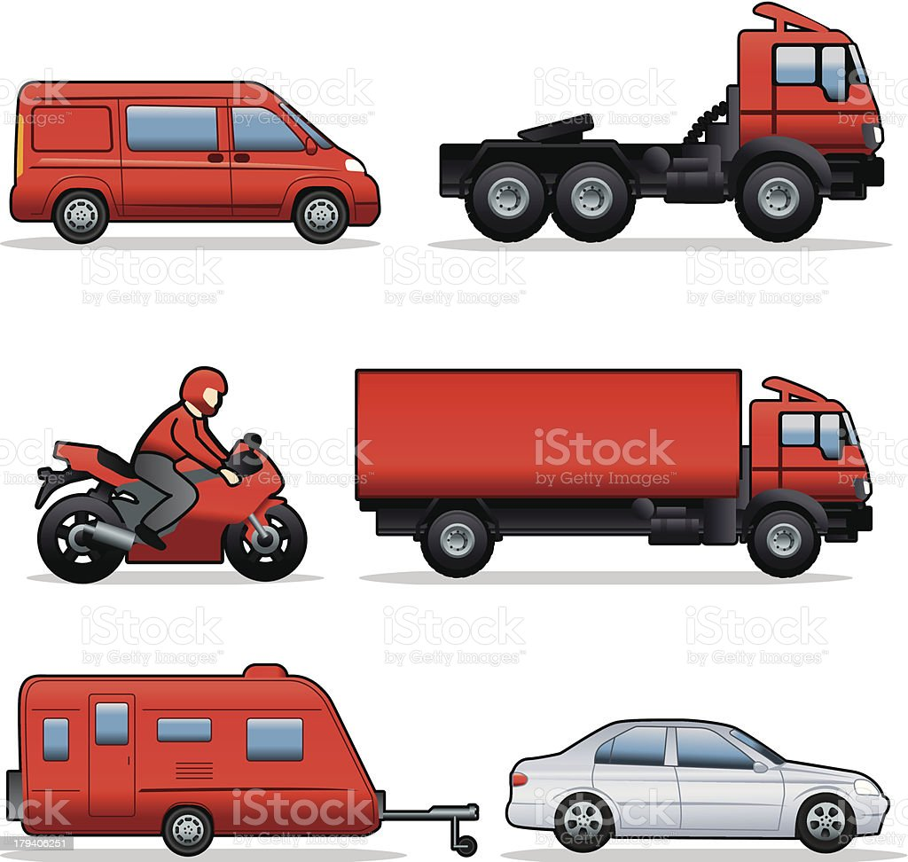 Side view vehicles royalty-free stock vector art