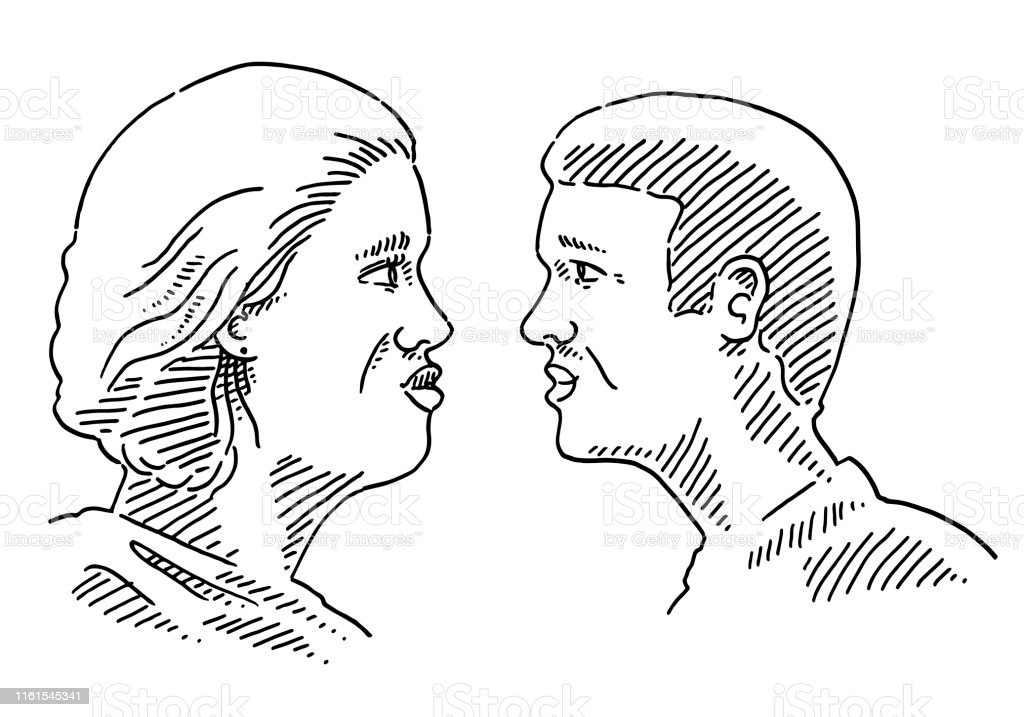 Side View Woman And Man Looking At Each Other Drawing Stock Illustration Download Image Now Istock