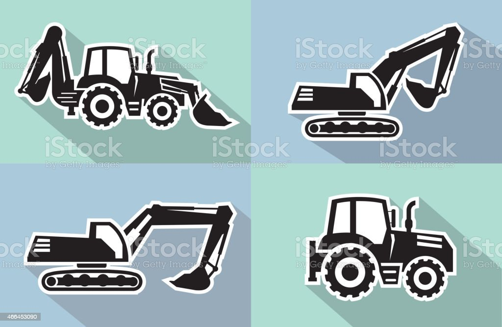 Side views of black tractor icons vector art illustration