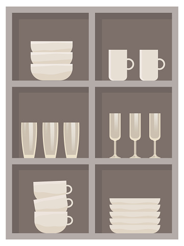 Sideboard with different dishes. Crockery on shelves in kitchen furniture vector ilustration