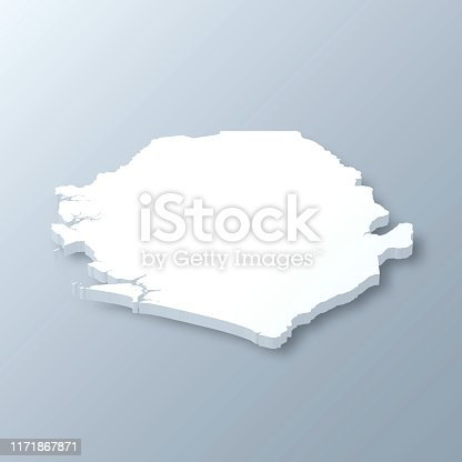 3D map of Sierra Leone isolated on a blank and gray background, with a dropshadow. Vector Illustration (EPS10, well layered and grouped). Easy to edit, manipulate, resize or colorize.
