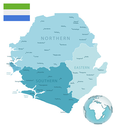 Sierra Leone administrative blue-green map with country flag and location on a globe.