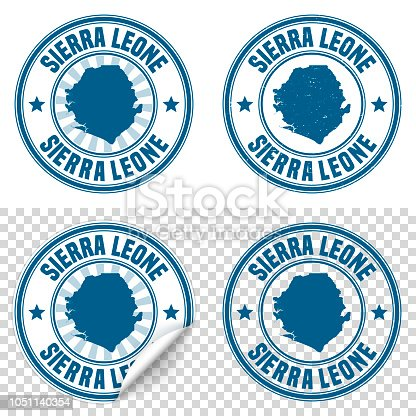 Map of Sierra Leone on a blue sticker and a blue rubber stamp. They are composed of the map in the middle with the names around, separated by stars. The stamp at the top right is created in a vintage style, a grunge texture is added to create a vintage and realistic effect. Vector Illustration (EPS10, well layered and grouped). Easy to edit, manipulate, resize or colorize. Please do not hesitate to contact me if you have any questions, or need to customise the illustration. http://www.istockphoto.com/portfolio/bgblue