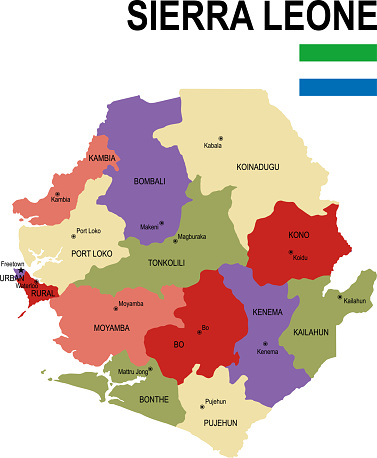 Sierra Leone colorful flat map with flag