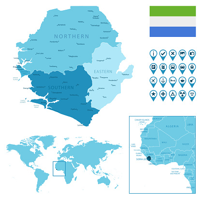 Sierra Leone detailed administrative blue map with country flag and location on the world map.