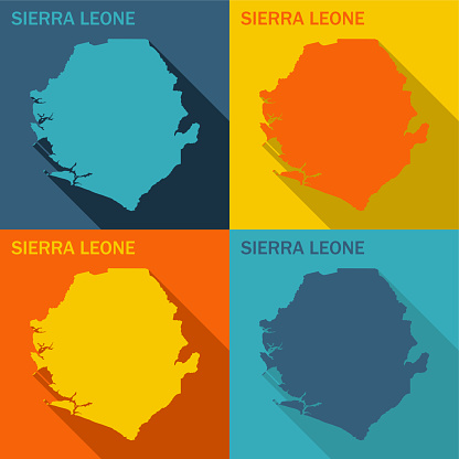 Sierra Leone flat map available in four colors
