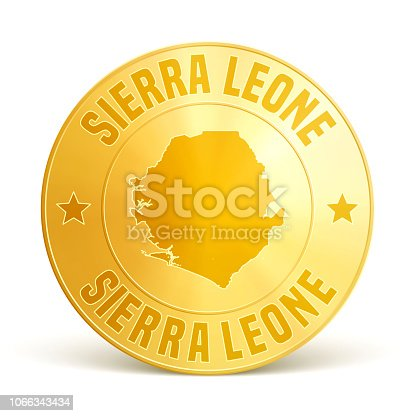 Map of Sierra Leone on a gold coin isolated on blank background. The gold coin is composed of the map in the middle with the names around, separated by stars. Vector Illustration (EPS10, well layered and grouped). Easy to edit, manipulate, resize or colorize. Please do not hesitate to contact me if you have any questions, or need to customise the illustration. http://www.istockphoto.com/portfolio/bgblue