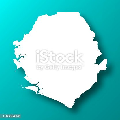 White map of Sierra Leone isolated on a trendy color, a blue green background and with a dropshadow. Vector Illustration (EPS10, well layered and grouped). Easy to edit, manipulate, resize or colorize.