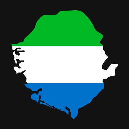 Sierra Leone map silhouette with flag on black background