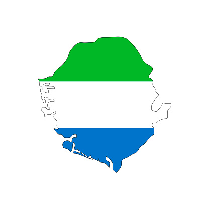 Sierra Leone map silhouette with flag on white background