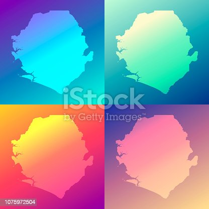 Map of Sierra Leone in a colorful, modern and trendy design. Four maps with beautiful color gradients (purple, cyan, blue, green, yellow, orange, red, pink, beige). Vector Illustration (EPS10, well layered and grouped). Easy to edit, manipulate, resize or colorize. Please do not hesitate to contact me if you have any questions, or need to customise the illustration. http://www.istockphoto.com/portfolio/bgblue